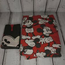Vtg Mickey Mouse Red Black Print Twin Size Flat Sheet Bedding + Pillow Case