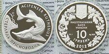 RARE 2012 Ukraine 10 UAH PROOF 1 OZ Silver Sturgeon-box-mintage 7000