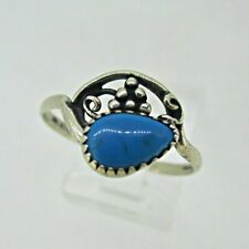Stone Wheeler Ring Size 8.5 Sterling Silver Turquoise Tear Drop