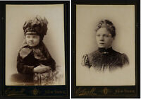 Cute little girl/beautiful woman 2 1890s fashion cabinet cards by Frank Edsall