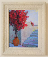 """Mediterranean view. Original framed oil on canvas 11""""x14"""" painting from artist"""