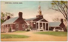 Postcard CT Clinton Town Hall Hand Colored A4