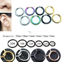 Women Men Punk Gothic Stainless Steel Simple Round Stud Earrings 6 Colors 7 Size