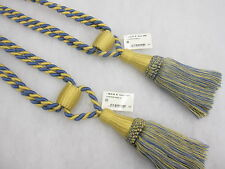 2 Curtain Tassel Tiebacks - Duo Tone Twist Cord Tieback Drape Ties Holdbacks Blue & Gold
