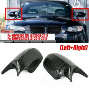 Pair M3 Style Carbon Fiber Color Side Mirror Cover Caps For BMW E90 E92 E93 LCI