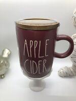 Rae Dunn APPLE CIDER Burgundy Mug w wooden lid Thanksgiving Fall Halloween