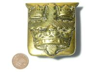 Antique COLCHESTER Coat of Arms Horse Brass Shield 3 Crowns on Cross  #HB115