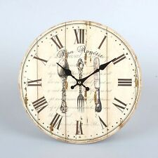 """Vintage Style Wooden Hanging Wall Clock """" BON APPETIT"""" Cuttlery Design"""