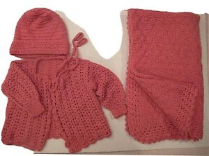 Hand Knit Crocheted Baby Blanket Throw Sweater & Hat Set Granny Wool Afghan Pink