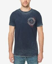 $99 BUFFALO DAVID BITTON Men BLUE WHITE GRAPHIC CREW-NECK SHORT-SLEEVE T-SHIRT L