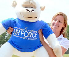New Giant Stuffed White Gorilla in T-Shirt SOMEONE IN THE AIR FORCE LOVES YOU