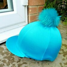 Riding Hat Silk skull cap cover TURQUOISE  Extra Large Faux Fur Pompom