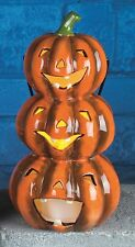 Halloween Decoration Large Ceramic Battery LED Light Up Pumpkin Stack Ornament