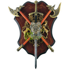 Medieval Sword Dagger Battle Double Axe Shield Crest Wall Decor Plaque NEW