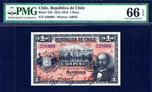 Chile 1919 One Peso Pick-15b GEM UNC PMG 66 EPQ FINEST GRADED