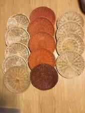 Vintage Wicker Rattan Paper Plate Holders set of 14 Red Brown & Tan