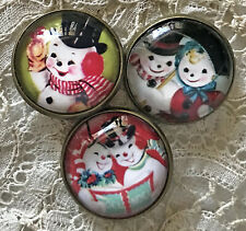 """SNOWMAN  7/8"""" Glass Dome BUTTON Set of 3 Mid Century Christmas Card Vintage Noel"""