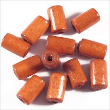 set di 50 perline in legno Tubi 6 x 10 mm Rosso Aranciato