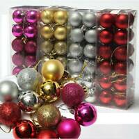 24Pcs Glitter Christmas Balls Baubles Xmas Tree Hanging Ornament Xmas Decors Kit