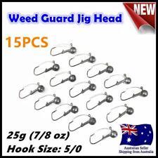 15X 25g ( 7/8oz ) Hook size 5/0 Weedguard Weedless Jig Head Chemically Sharpened