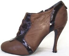 ROCHAS Brown Distressed Goat Skin Shoe Boots Booties 40 10