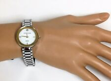 Anne Klein 2 Two Tone Silver Gold MOP Diamond Bracelet Watch Ak/2119mptt