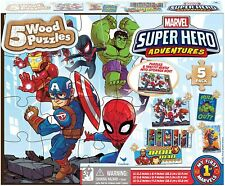 Marvel Super Hero Adventures 5 Wood Puzzles Set in Storage Box - New And Sealed