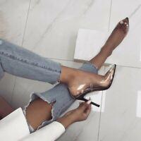 Transparent Pointy Toe Sexy Womens Slip On Pumps Stiletto Heel Nightclub Shoes