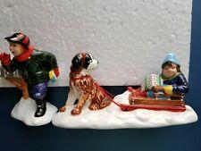 "Department 56 Snow Village ""Mush!""  Dogsled Set of 2 Retired 1997 #5474-7 New"