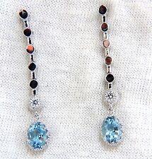 2.60ct natural aquamarines diamonds dangle earrings 14kt