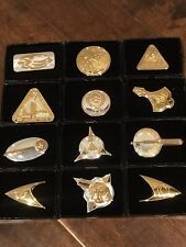 Lot of 12 - Official Star Trek Insignia Collection - .925 Sterling Silver