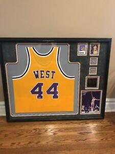 Jerry West LA Lakers Signed Deluxe Framed  Jersey w/ HOF 1979