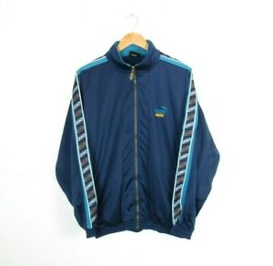 Mens PUMA KING Vintage 1990s Shellsuit Blue Tracksuit Top Jacket Size Small