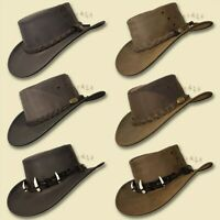 ~oZtrALa~ Aussie BUFFALO Leather Hat CROCODILE Band Mens Fishing Cowboy JACARU
