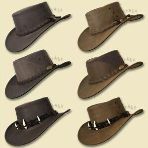 【oZtrALa】 Aussie BUFFALO Leather Hat CROCODILE Band Mens Fishing Cowboy JACARU