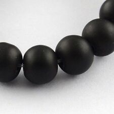 """8mm Black Round Rubberized Style Painted Glass Bead Strands Hole 1.3~1.6mm 31.4"""""""