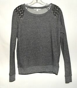 Victoria's Secret Gray Beaded Shoulders Cotton Blend Pullover Sweater Size PS