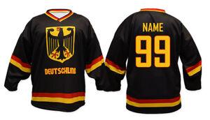 Team Germany Deutschland Black Ice Hockey Jersey Custom Name and Number
