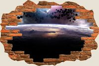 3D Hole in Wall Fantasy Asteroids Eclipse Space View Wall Sticker Decal 654