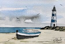 ORIGINAL AQUARELL - Boot mit Leuchtturm.