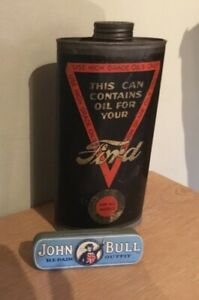 Vintage FORD Motor Oil Can & JOHN BULL Repair Outfit Tin