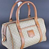 Auth CELINE macadam Canvas pattern brown leather Small ladies handbag Italy M07