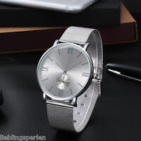 L/P 1 Herren Damen Armbanduhr Quarzuhr Metallband Netzband Analog Business 23cm
