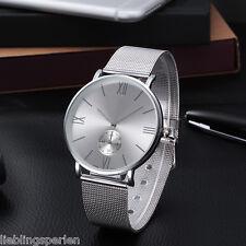 LP 1 Herren Damen Armbanduhr Quarzuhr Metallband Netzband Analog Business 23cm