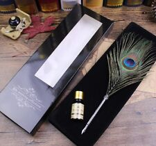 Antique Pure Peacock Feather Quill Dip Pen and Ink Set Rare Stationery Gift Box