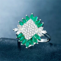 Elegant 925 Silver Women Wedding Ring Emerald & White Sapphire Ring Size 6-10