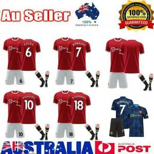 21/22 Kid Adults Football Home T-Shirts Kits Soccer Retro Tops & Shorts Red Suit