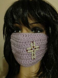 PURPLE Lavender face mask CROSS handmade crochet Pearl beads crystal glass