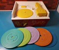 Fisher Price Music Box Record Player Vintage Style Toy With 5 Discs Wind Up 2014