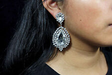 Bridal Wedding CLIP ON Earrings Crystal Rhinestones Prom Party Chandelier